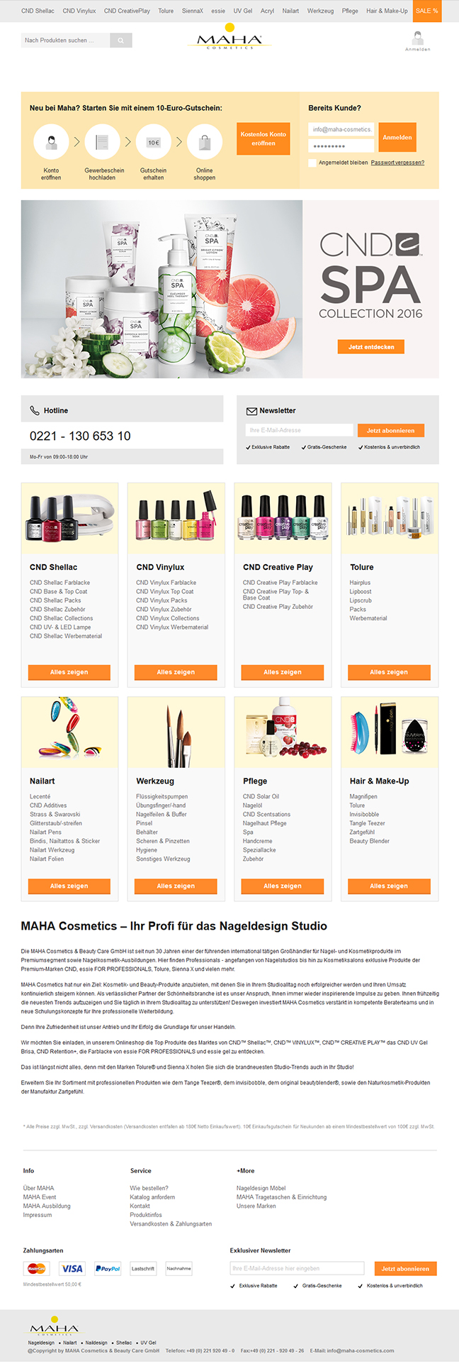 webdesign nail polish maha cosmetics online shop
