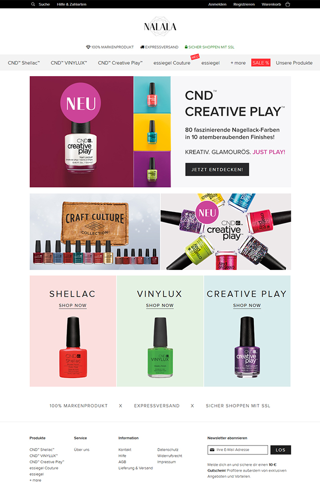 webdesign nail polish nalala online shop cosmetics